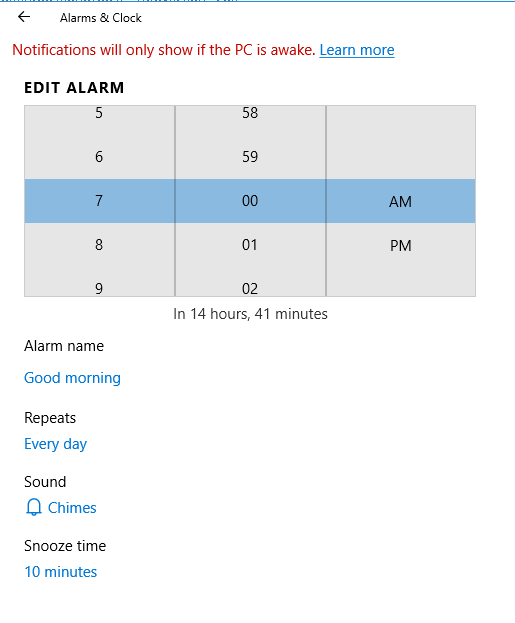 set alarms