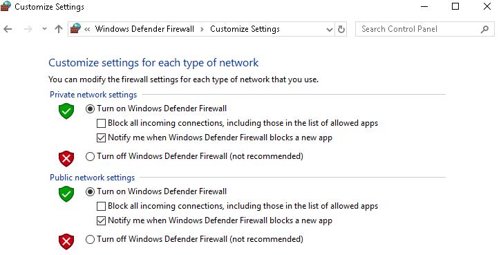 firewall customize settings